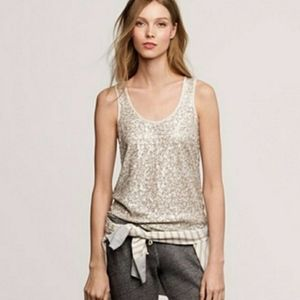 J. Crew Ivory Sparkly Sequence Sleeveless Tank Top